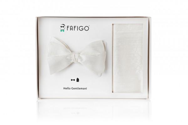 """""""Nino"""", weißes Fliege + Einstecktuch Set aus Wildseide"""