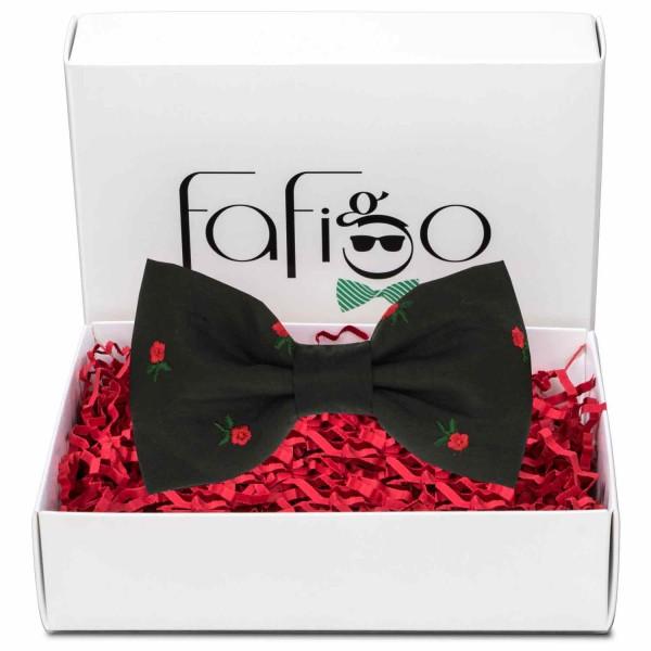 """""""Valentino"""", schwarze Fliege mit besticktem Blumenmuster"""