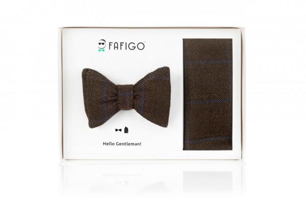 """""""Jacopo"""", dunkelbraunes Tweed Fliege + Einstecktuch Set"""