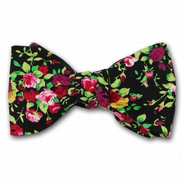 """""""Bora Bora"""", schwarze Fliege zum Selberbinden mit Blumenmuster"""