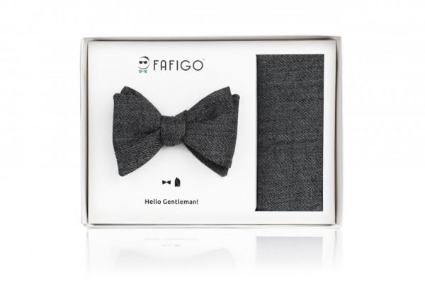"""""""Ettore"""", graues Fliege + Einstecktuch Set aus Schurwolle"""