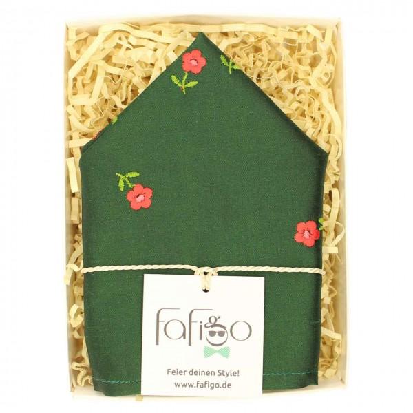 Giardino, grünes Einstecktuch mit bestickten Blumen