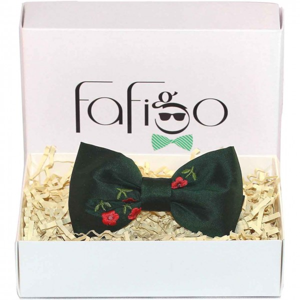 Giardino, grüne Fliege mit gestickten Blumen